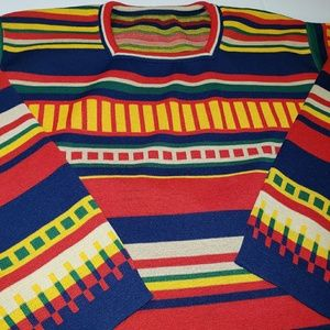 Vintage Striped Sweater Vibrant Colors Sz Small